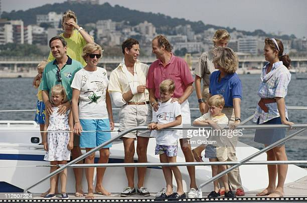 Diana, Princess of Wales enjoys a summer holiday in Majorca on board King Juan Carlos of Spain's yacht 'Fortuna', Spain, 15 August 1990. From left:...