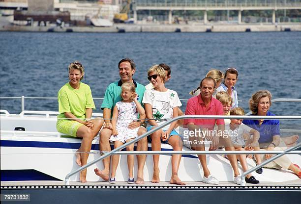Diana Princess of Wales enjoys a summer holiday in Majorca on board King Juan Carlos of Spain's yacht Fortuna Queen AnneMarie King Constantine and...