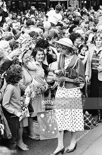 Diana Princess of Wales greeting crowds of people as she arrives on an official visit to Australia April 14th 1983