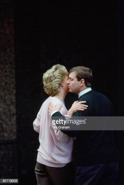 Diana Princess Of Wales Greets Prince Andrew At The Portland Hospital Where She Is Visiting To See The New Baby