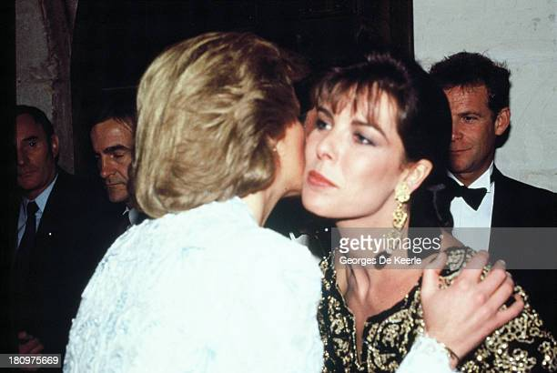 Diana Princess of Wales greets Princess Caroline of Monaco on a dinner at the Chateau de Chambord during her official visit to France on November 9...