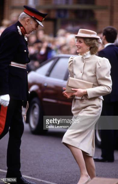 Diana Princess of Wales greets the Lord Lieutenant of Surrey on a visit to St Mary's Day Centre on March 11 1986 in Byfleet Surrey