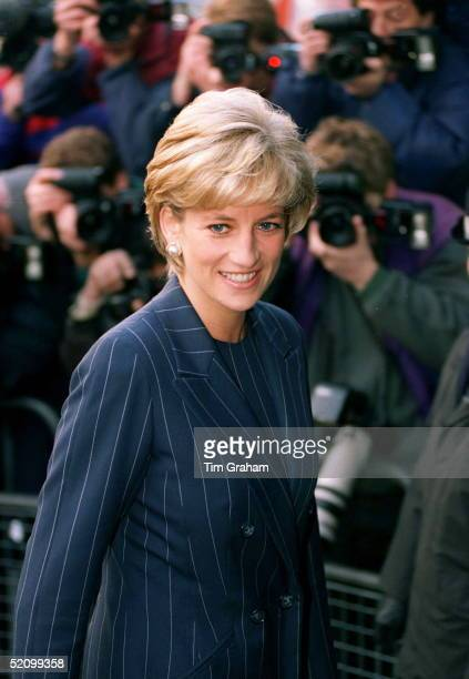 Diana Princess Of Wales Having Her Picture Taken By Press Photographers As She Arrives To Attend Centrepoint's Christmas Campaign To Help Runaway...