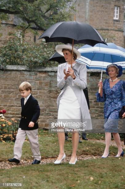 Diana Princess of Wales her son Prince William and her mother Frances Shand Kydd attend the wedding of Diana's brother Viscount Althorp to Victoria...