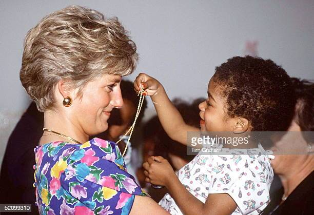 Diana Princess Of Wales Holding A Baby At A Hostel For Abandoned Children In Sao Paolo Brazil The Hostel Cares For Hiv Positive Children