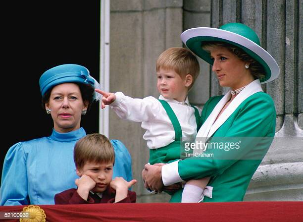 Diana Princess Of Wales Holding A Young Prince Harry In Her Arms As She Watches Trooping The Colour With Prince William And Princess Margaret From...