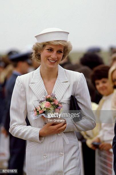 Diana Princess Of Wales Honorary Air Commodore Visiting Raf Wittering Diana's Outfit Is By Fashion Designer Catherine Walker