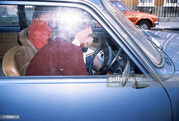 Diana Princess of Wales in a car circa 1981