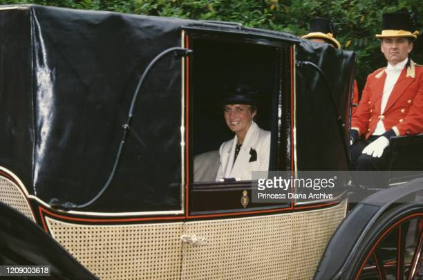 Diana Princess of Wales in a carriage at the Royal Ascot race meeting UK June 1991 She is wearing a white suit by Catherine Walker