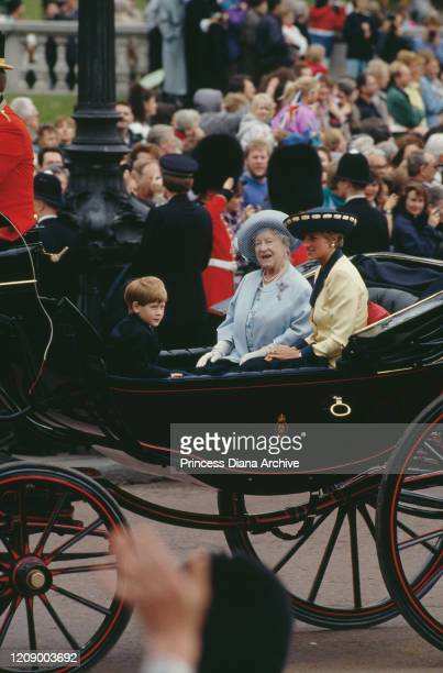 Diana Princess of Wales in a carriage with the Queen Mother and Prince Harry during the Trooping the Colour ceremony at Buckingham Palace in London...