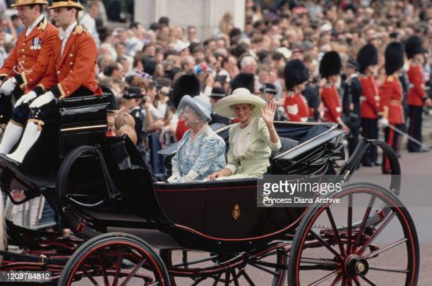 Diana, Princess of Wales in a carriage with the Queen Mother during the Trooping the Colour ceremony at Buckingham Palace in London, June 1990.