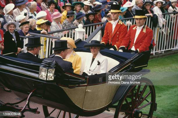 Diana Princess of Wales in a carriage with the Queen Mother during Ascot Week UK June 1991