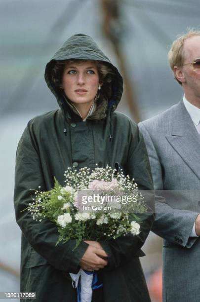 Diana, Princess of Wales in Ardveenish, on Barra in the Outer Hebrides of Scotland, 3rd July 1985. She is wearing a Barbour coat.