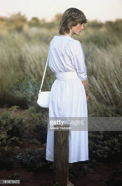 Diana Princess of Wales in front of Uluru/Ayers Rock near Alice Springs, Australia during the Royal Tour of Australia, 21st March 1983. She is...