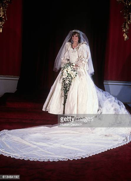 Diana Princess of Wales in her bridal dress on the day of her wedding to Prince Charles