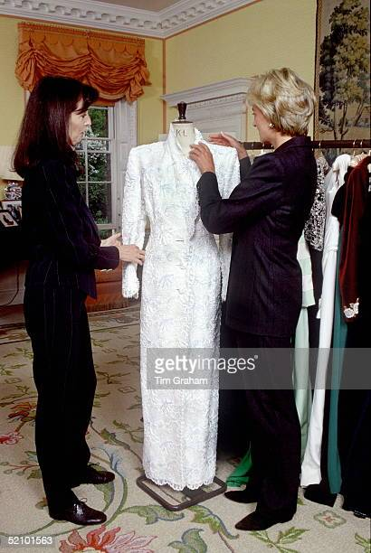 Diana Princess Of Wales In Her Sitting Room At Kensington Palace With Dress Designer Catherine Walker And One Of The Dresses She Designed For The...