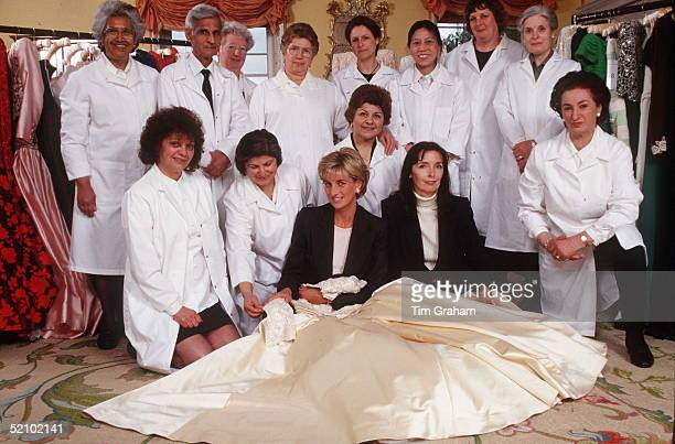 Diana, Princess Of Wales In Her Sitting Room At Kensington Palace With Dress Designer Catherine Walker And One Of The Dresses She Designed For The...