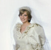 Diana princess of wales in her wedding dress at buckingham palace picture id112768221?s=170x170