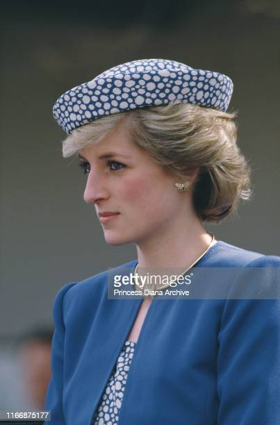 Diana Princess of Wales in Prince George British Columbia during a visit to Canada May 1986 She is wearing a dress by Catherine Walker and a hat by...
