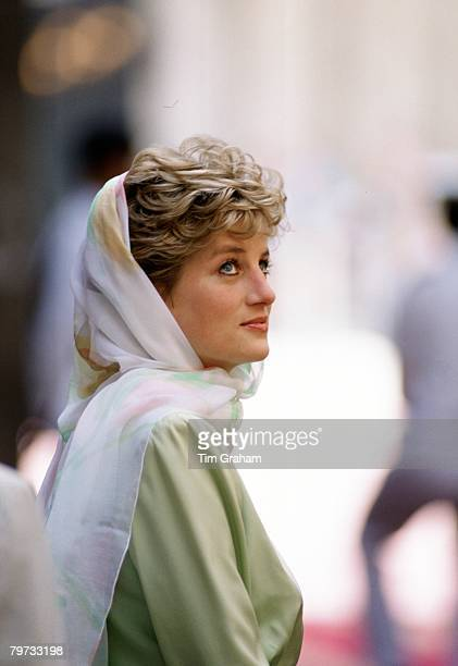 Diana Princess of Wales in teh Alazhar Mosque Cairo Egypt