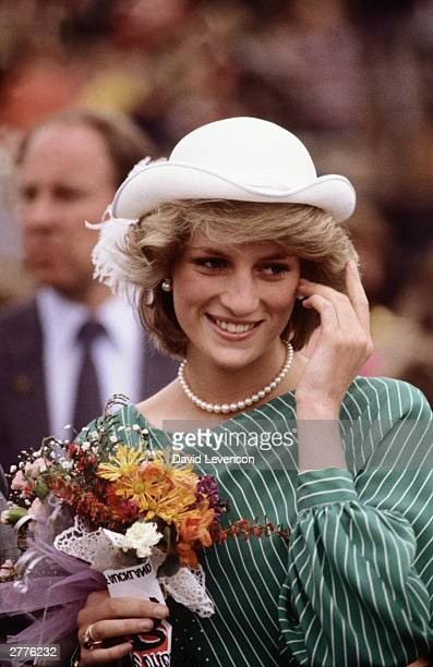 Diana Princess of Wales in the Eden Park Stadium on her arrival on April 18 1983 in Auckland New Zealand at the start of the Royal Tour of New...
