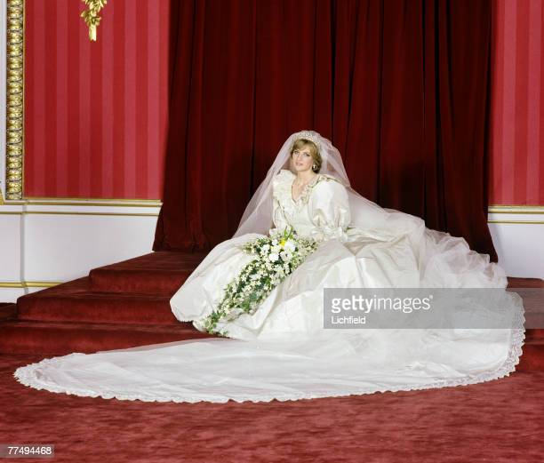HRH The Princess of Wales in the Throne Room at Buckingham Palace after her wedding on 29th July 1981