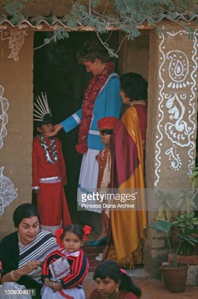 Diana Princess of Wales inaugurates the Tamana Special School in Delhi India 12th February 1992 She is wearing a blue and white suit by Catherine...