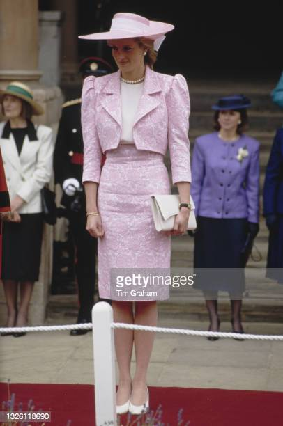 Diana, Princess of Wales inspects a guard of honour of the Royal Pioneer Corps in Northampton, UK, 8th June 1989.