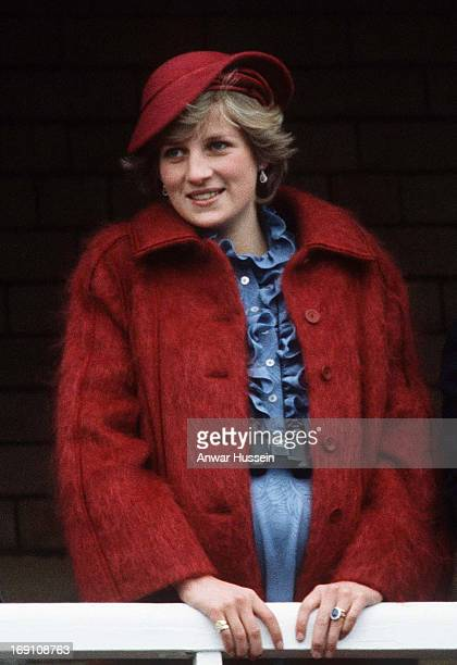 Diana Princess of Wales is 7 months pregnant as she watches the Grand National at Aintree race course on March 31 1984 in Liverpool England
