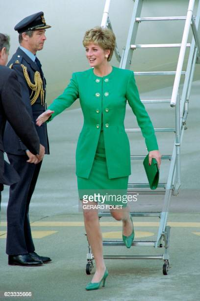 Diana Princess of Wales is greeted by protocol representatives upon arrival at Orly airport on November 13 1992 for a private threeday visit she is...
