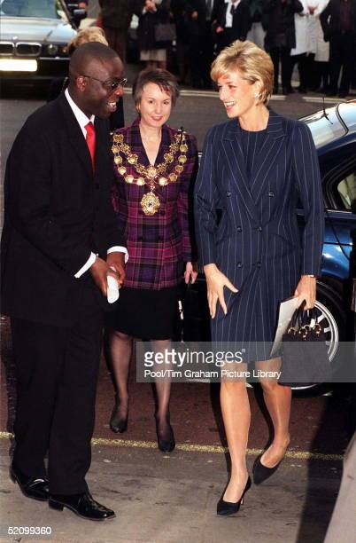 Diana Princess Of Wales Is Greeted By Victor Adebowale Chief Executive Of The Centrepoint Housing Charity As She Arrives At Bafta Centrepoint Is One...