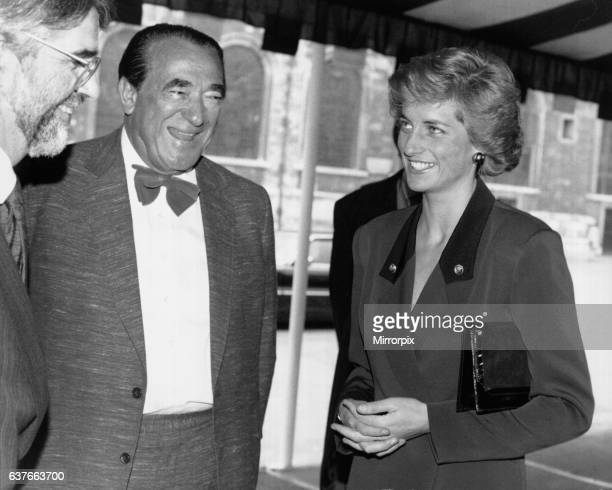 Diana Princess of Wales is met by Robert Maxwell as she arrives at the Guildhall for the launch of the National Aids Trust 1988