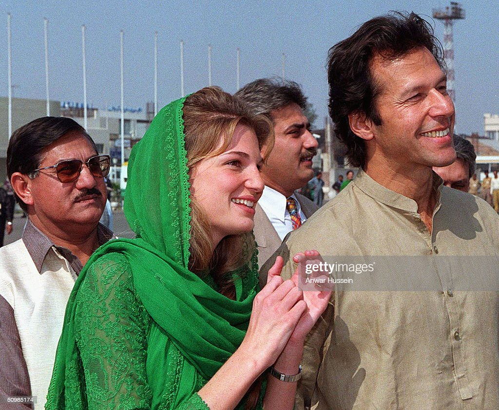 Diana, Princess of Wales, is welcomed to Lahore by Imran (R) and Jemima Khan at Lahore airport April, 1996 in Lahore, Pakistan. Imran Khan and Jemima Khan have today announced they have divorced after 9 years of marriage, on June 22, 2004. Jemima - the daughter of multimillionaire British businessman James Goldsmith - and Khan have two sons. Khan led Pakistan to victory in the cricket World Cup in 1992 and later formed his own political party in 1996.