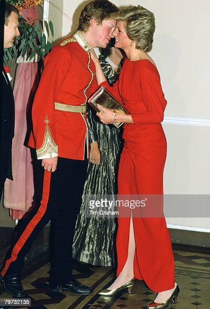 Diana Princess of Wales kisses her brother Earl Charles Spencer at the Birthright Ball