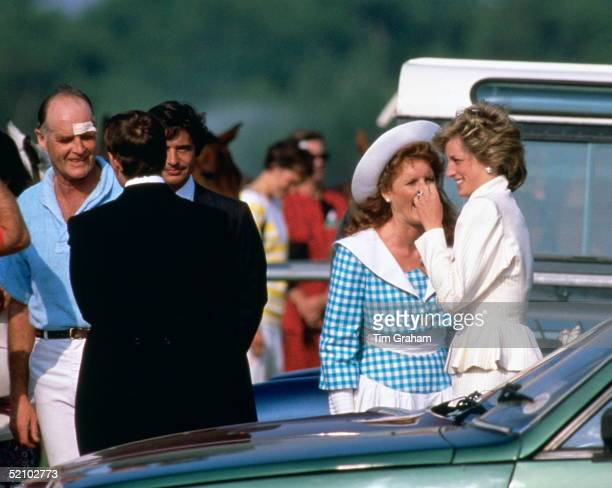 Diana Princess Of Wales Laughing And Joking With Sarah Ferguson Sarah's Father Major Ronald Ferguson At Left And Friends Including Oliver Hoare Who...