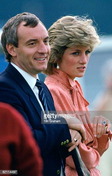 Diana Princess Of Wales Laughing With Her Police Bodyguard Barry Mannakee While Watching A Match At Guards Polo Club Smiths Lawn Windsor