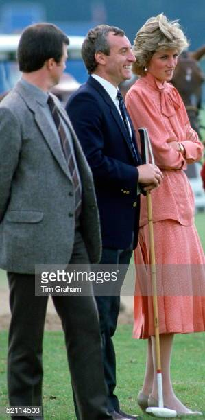Diana Princess Of Wales Laughing With Her Police Bodyguard Barry Mannakee Whilst Watching A Match At Guards Polo Clubsmiths Lawnwindsor