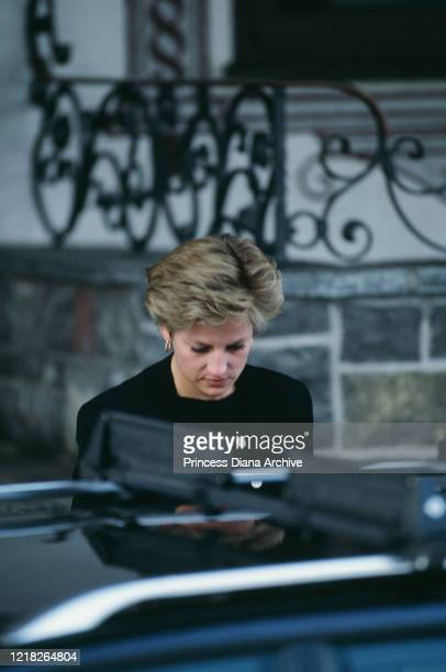 Diana, Princess of Wales leaves the Hotel Arlberg in Lech, Austria, after hearing of the death of her father, the 8th Earl Spencer, 29th March 1992.