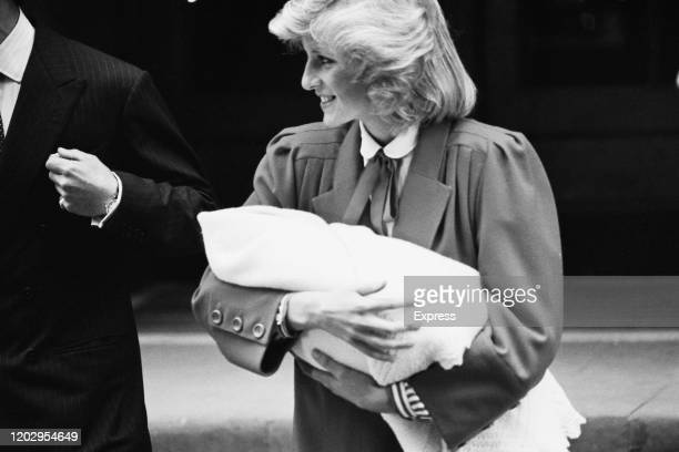 Diana, Princess of Wales leaves the Lindo Wing of St Mary's Hospital with her son Prince Harry, in Paddington, London, England, 16th September 1984....