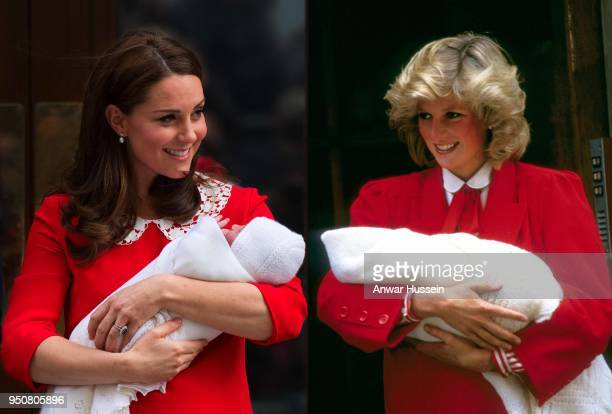 In this photo composite a comparison has been made between Catherine Duchess of Cambridge carrying her newborn son and Diana Princess of Wales...