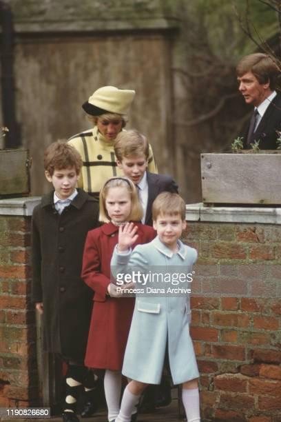 Diana Princess of Wales leaving St George's Chapel in Windsor with Lord Frederick Windsor Peter and Zara Phillips and Prince William on Christmas Day...