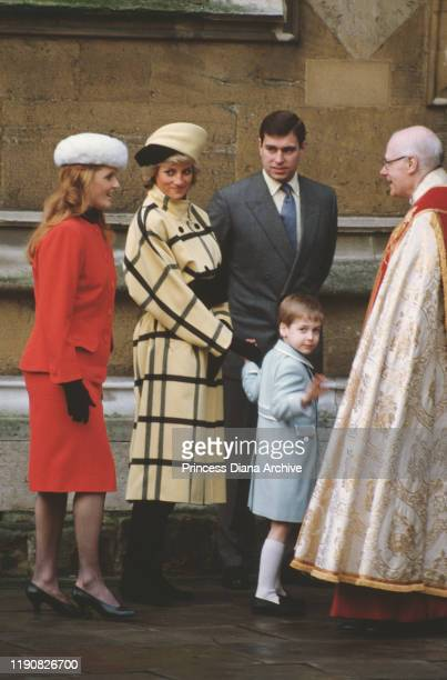 Diana, Princess of Wales leaving St George's Chapel in Windsor with Prince Andrew, the Duchess of York and Prince William on Christmas Day, 25th...