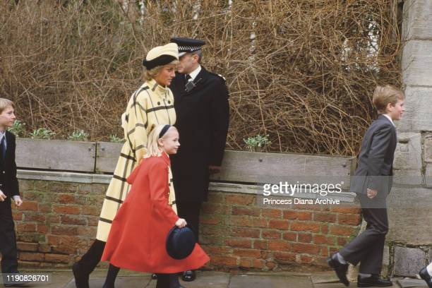 Diana, Princess of Wales leaving St George's Chapel in Windsor with Lady Rose Windsor on Christmas Day, 25th December 1987.