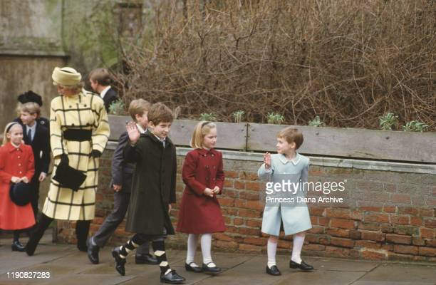 Diana, Princess of Wales leaving St George's Chapel in Windsor with Lady Rose Windsor, Lord Frederick Windsor, Peter and Zara Phillips and Prince...