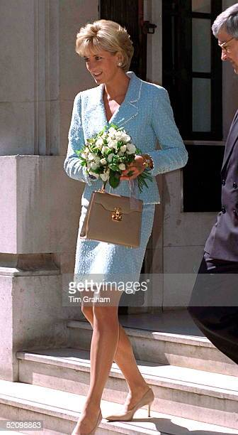 Diana Princess Of Wales Leaving The British Lung Foundation In Hatton Garden After Being Presented With The First Rose Named After Her Diana Is...