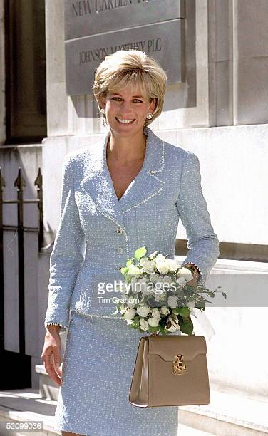 Diana, Princess Of Wales, Leaving The British Lung Foundation In Hatton Garden After Being Presented With A Bouquet Of The First Rose Named After Her.