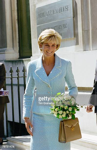Diana, Princess of Wales leaving the British Lung Foundation in Hatton Garden after being presented with a bouquet of the first rose named after her