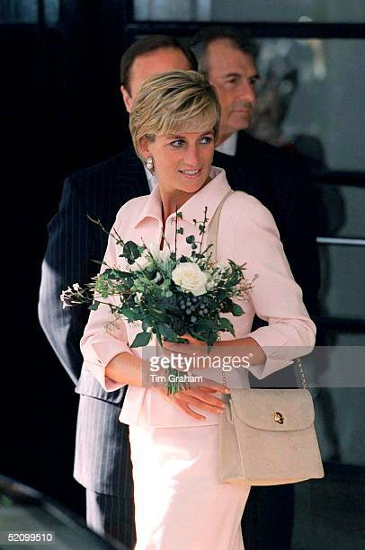 Diana Princess Of Wales Leaving The Savoy Hotel After Attending The Daily Star Gold Awards For Courage And Bravery The Princess Is Wearing A Pink...