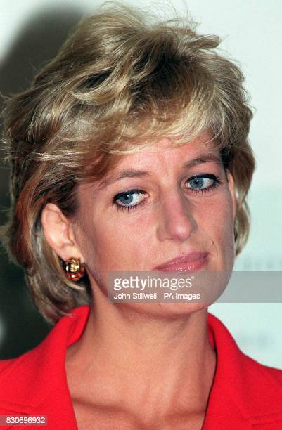 Diana Princess of Wales listens to speeches at the London Lighthouse during a rare public engagement