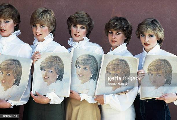 Lady Di lookalikes line up to meet Prince Charles Prince of Wales during his visit to New Zealand prior to his marriage to Lady Diana Spencer on...